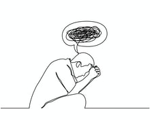 Continuous line drawings of man feeling sad, tired and worried about suffering from depression in me...