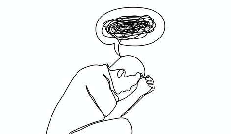 Continuous line drawings of man feeling sad, tired and worried about suffering from depression in mental health. problems, failures and concepts of heartbreak isolated on white background. Vector