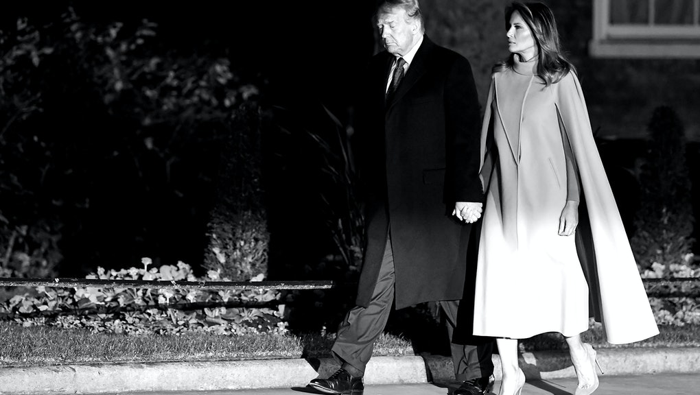 Donald Trump and Melania Trump attend a reception at No.10 Downing Street with foreign leaders ahead of the NATO meeting in London.