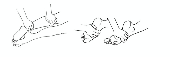 Foot massage, shin massage, by hands. Recommendations for manual therapy. Sketch.