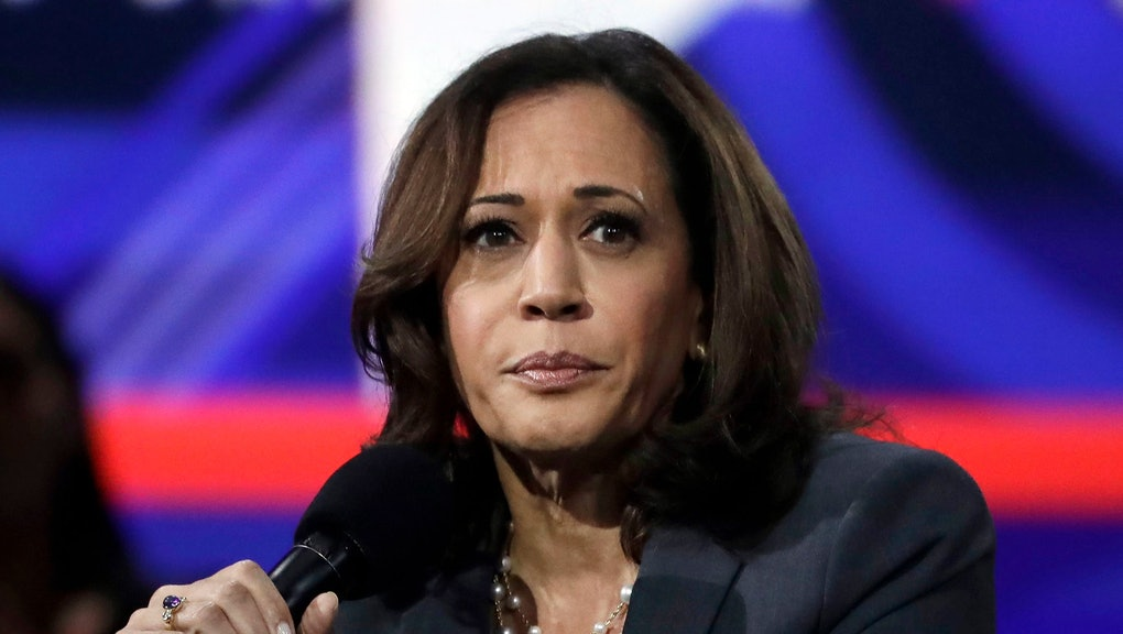 Sen. Kamala Harris, D-Calif., speaks during a presidential forum at the California Democratic Party's convention, in Long Beach, Calif