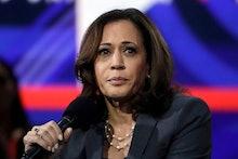 Sen. Kamala Harris, D-Calif., speaks during a presidential forum at the California Democratic Party'...