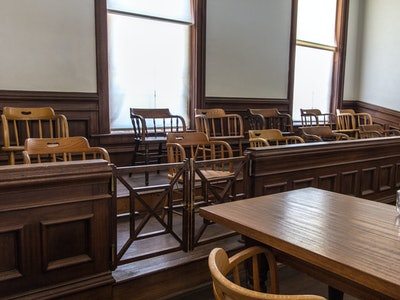 Jury Box And Defendant Table