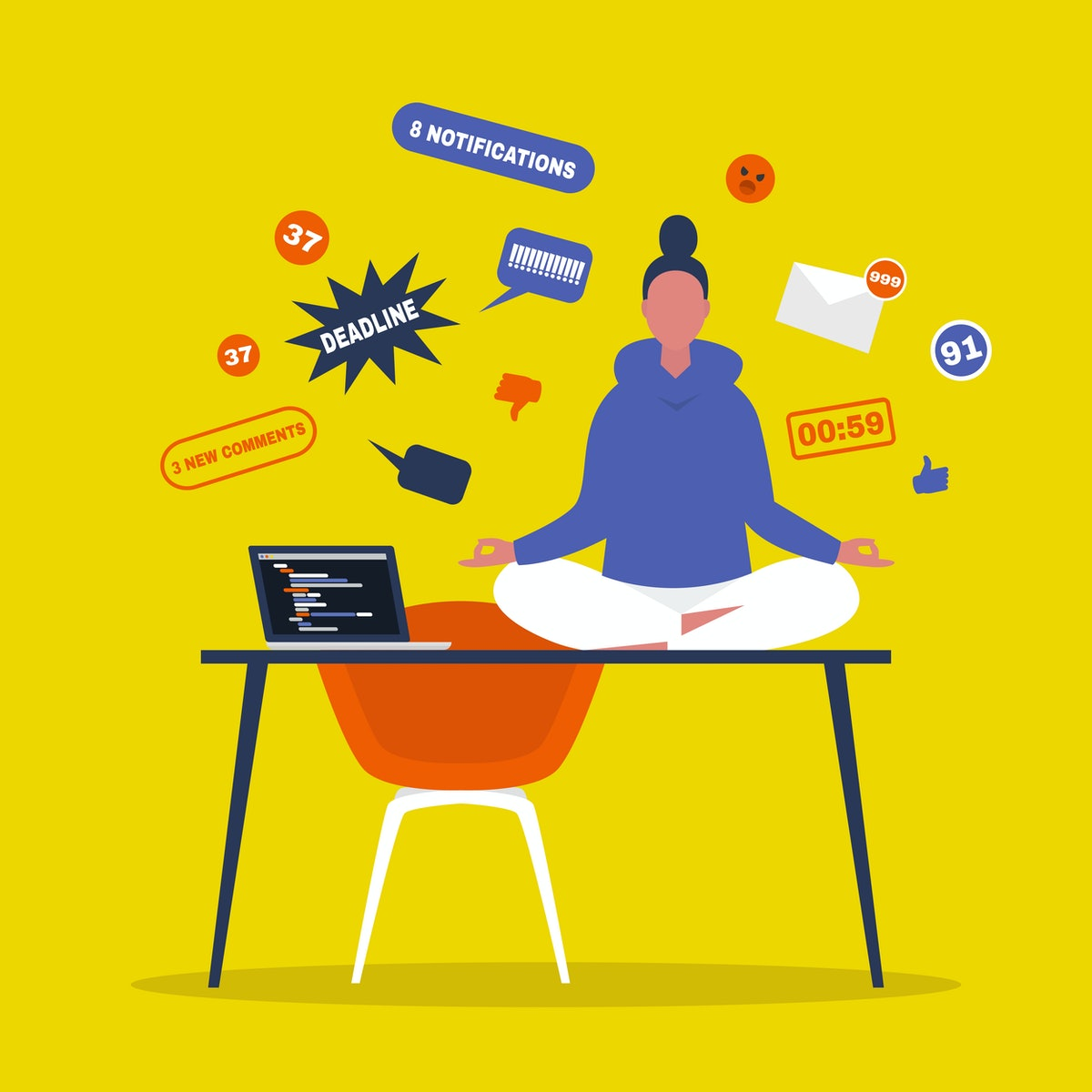 Meditation. Yoga at the office. Harmony and relaxation. Calm female character sitting in a lotus pos...