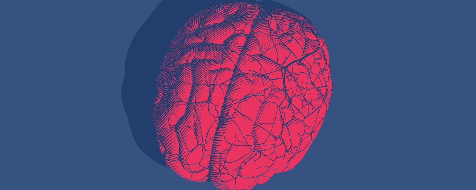 Bright red engraved vintage drawing cracked human brain glyph illustration style isolated on deep blue background