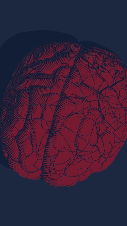 Bright red engraved vintage drawing cracked human brain glyph illustration style isolated on deep bl...