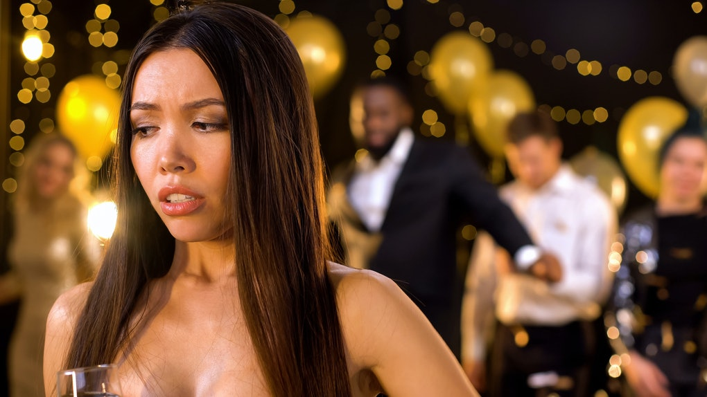 Beautiful female feeling uncomfortable at party, awkward moment, menstruation