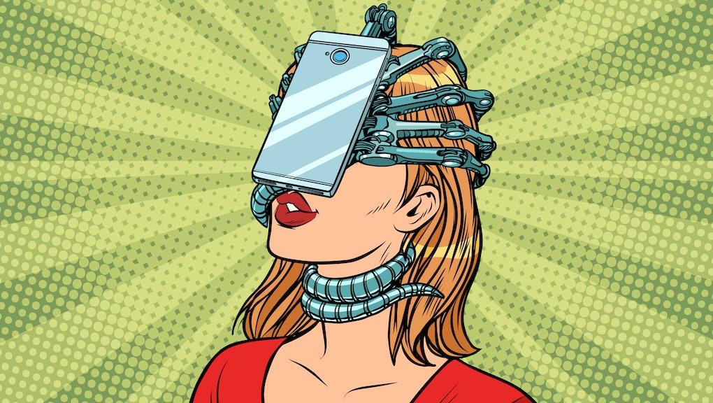 face id smartphone parasite, woman and Internet addiction. Pop art retro vector vintage illustrations