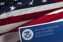 US Customs and Border Enforcement and USA flag