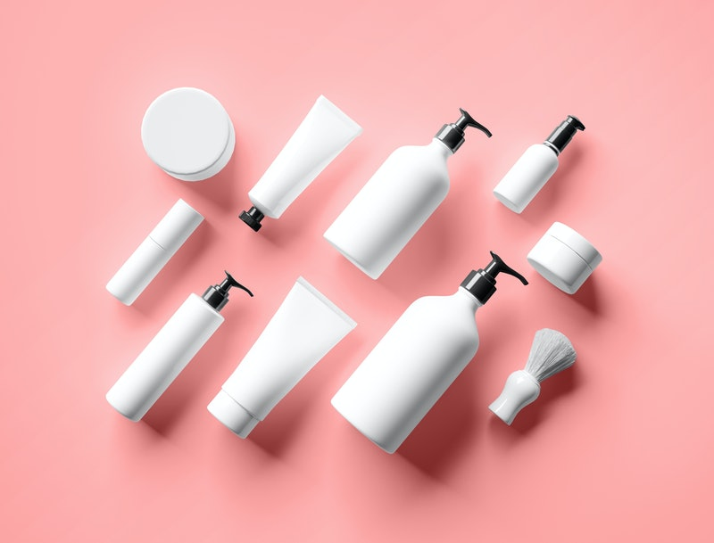 Cosmetic mock up bottles. Branding identity mockup concept.