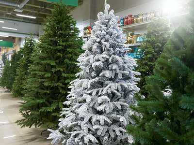 a row of artificial Christmas trees in green, purple and white at a decor store