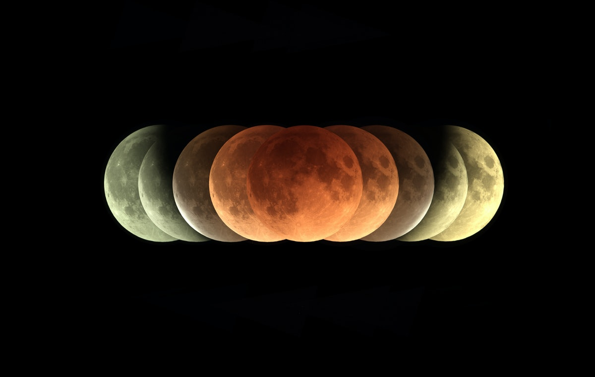 Time series of total Lunar eclipse on 31 January 2018 as it appeared as supermoon at perigee and als...