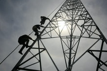 Workers Climb to Install a 60-meters Telecommunication Tower in Banda Aceh Indonesia 27 May 2014 the...