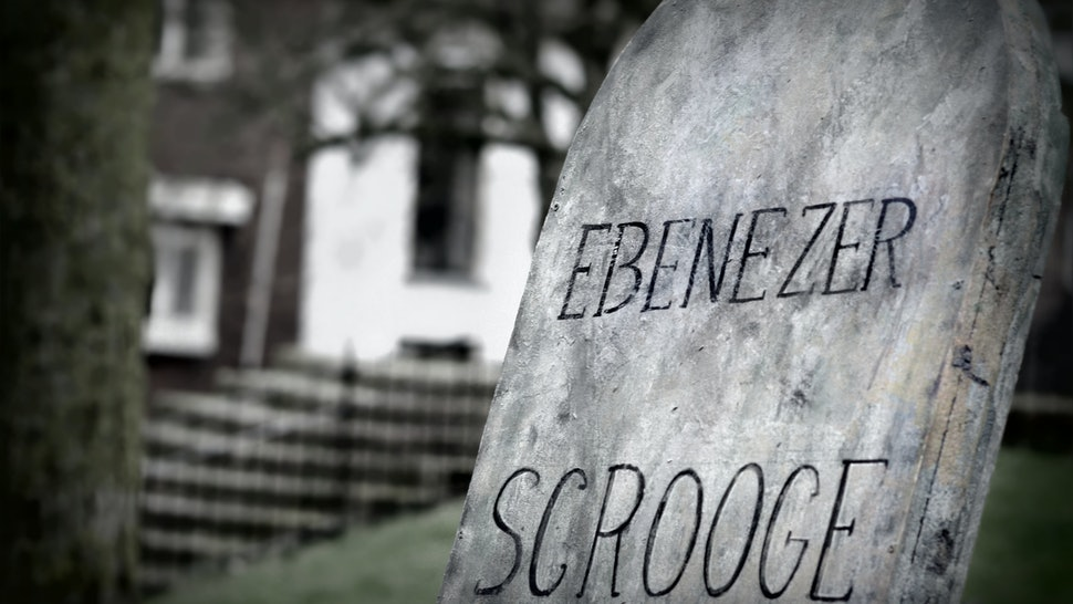 edited version of the ( fictive ) gravestone from Scrooge  . Ebenezer Scrooge is the focal character of Charles Dickens  1843 novella, A Christmas Carol.