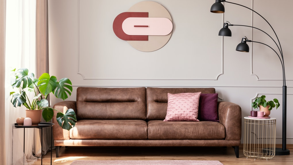 Poster above leather couch with pillows in white flat interior with plants and lamp. Real photo