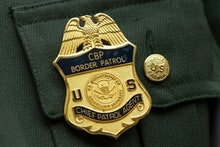 The badge of Brian Hastings, chief of Law Enforcement Operations at the US Border Patrol, as he test...