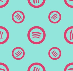 Seamless two color slate blue spotify logo flat pattern on khaki background.