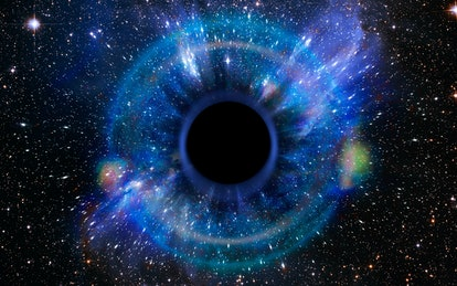 Stars are collapsing in a deep black hole, attracted by the huge gravitational field. The black hole...