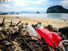 Stop ocean plastic pollution concept for earth day