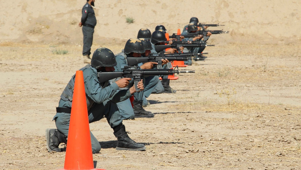 Afghan policemen attend a training session in Kandahar, Afghanistan, 21 October 2019. According to the United States' Special Inspector General for Afghanistan Reconstruction, the war in the country has remained stagnant, with the Taliban controlling around 40 percent of the country.