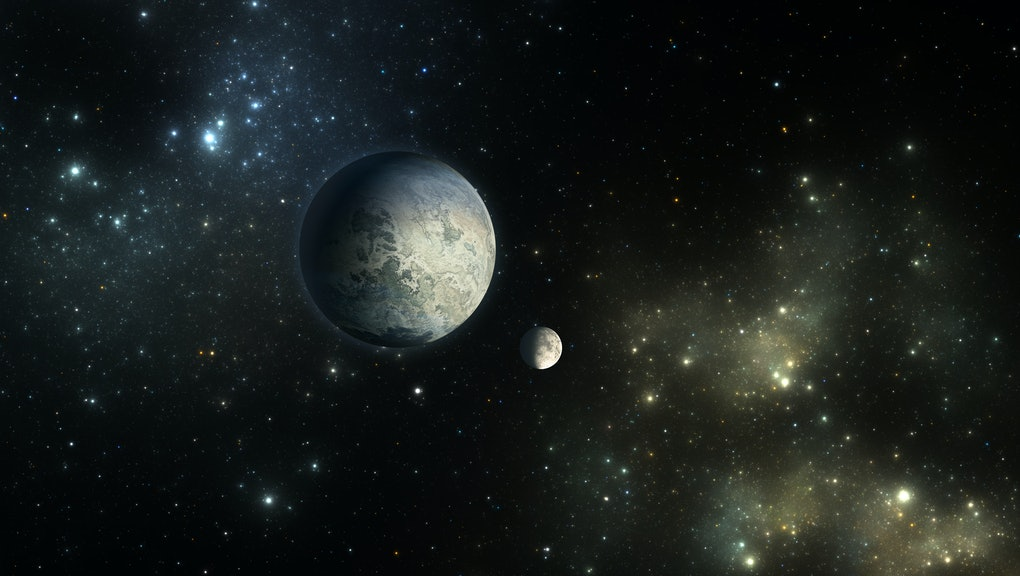 Exoplanets or Extrasolar planet with stars on nebula background, 3D illustration