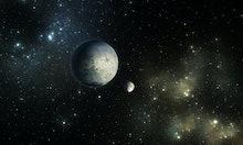 Exoplanets or Extrasolar planet with stars on nebula background, 3D illustration