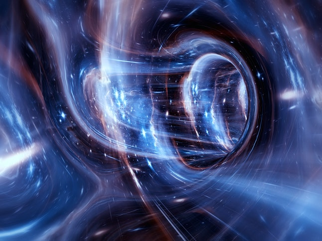 Somewhere in the universe. Space landscape. Curvature of space-time. Elements of this image furnishe...