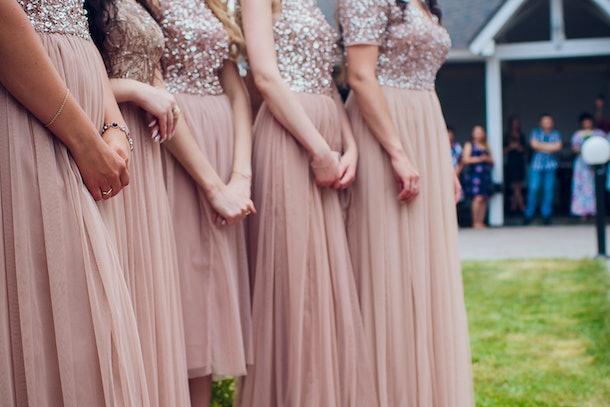 Glorious bridesmaids in pink dresses