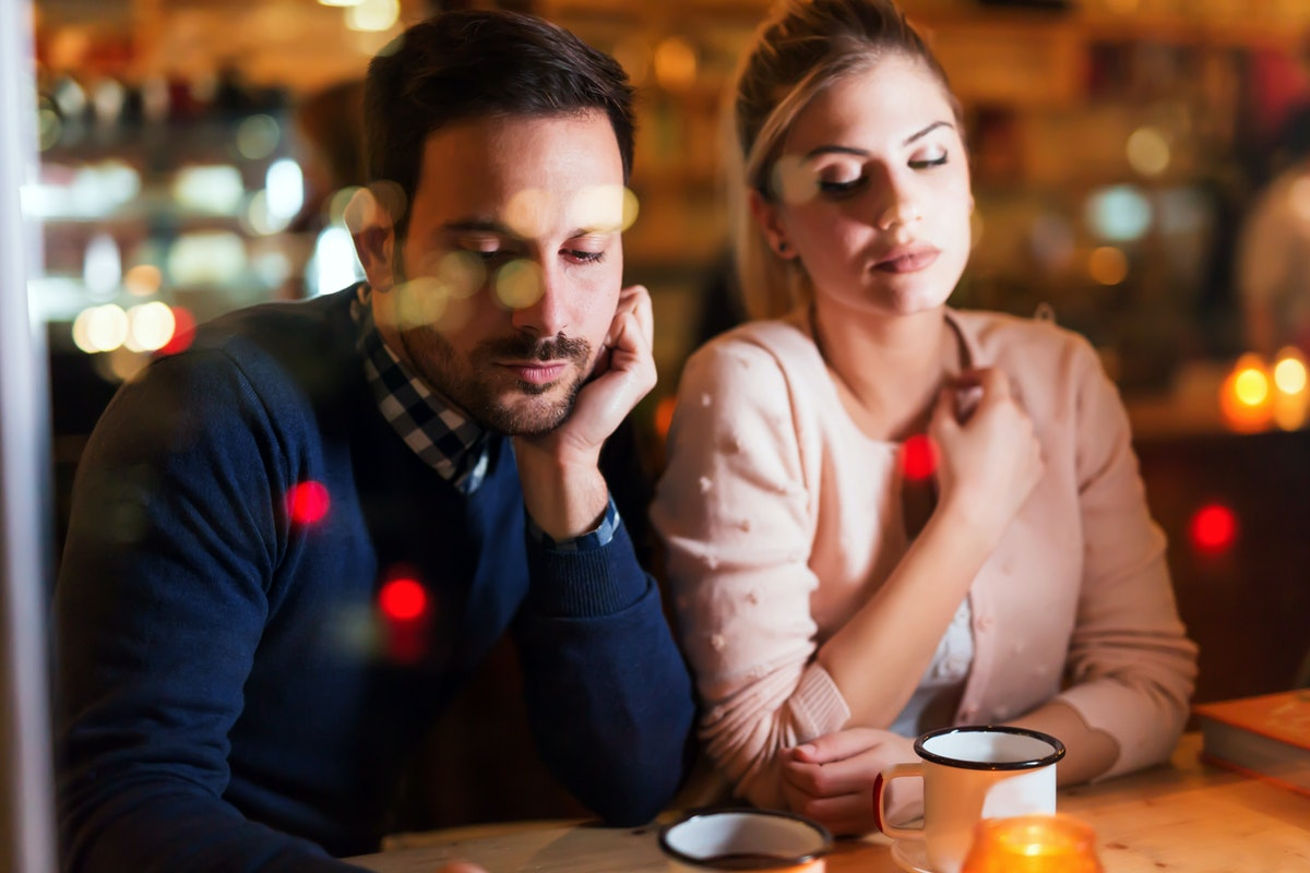 Sad couple having conflict and relationship problems