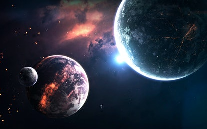 Deep space planets, science fiction imagination of cosmos landscape. Elements of this image furnishe...