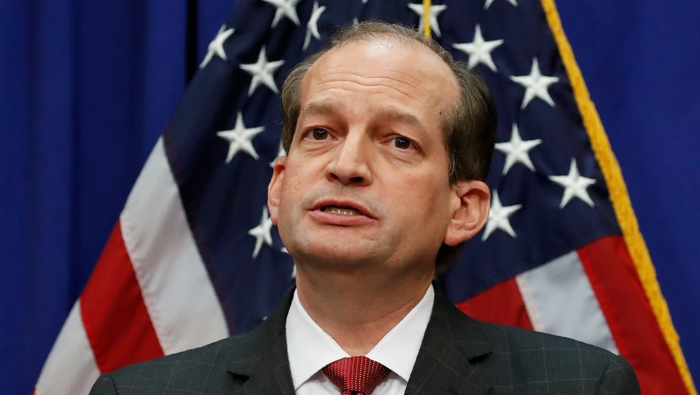 Labor Secretary Alex Acosta speaks at the Department of Labor in Washington. Acosta said Friday he is resigning following renewed scrutiny of his handling of a 2008 secret plea deal with wealthy financier Jeffrey Esptein, who is accused of sexually abusing dozens of underage girls
