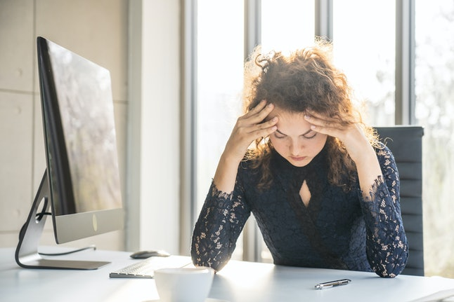 Portraits of beautiful woman stressed from work.anxiety in adult cause to depression and a problem in living that drag you down to feeling sadness,lonely and worried.