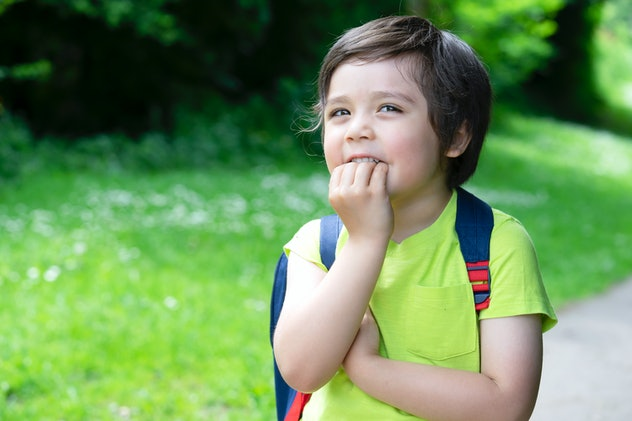 Portrait little boy putting his fingers in his mouth and looking at the camera with beautiful brown eyes, Excited kid carrying backpack get ready to go to forest for adventure with school summer camp