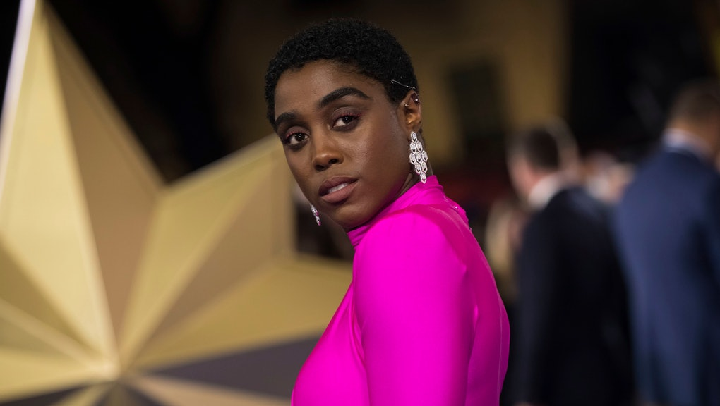 Lashana Lynch poses for photographers upon arrival at the premiere of the film 'Captain Marvel', in London