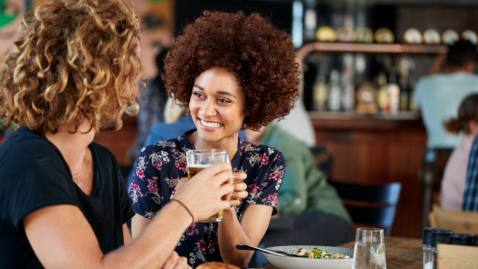 Couple On Date Meeting For Drinks And Food Making A Toast In Restaurant