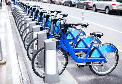 Rent of blue bikes in New York.