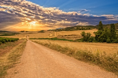 Sunset on the road to Santiago in Navarra, Spain