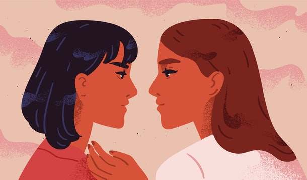 Lesbian couple. Portrait of adorable young women flirting with each other. Homosexual romantic partners on date. Concept of love, passion and homosexuality. Modern flat colorful vector illustration.