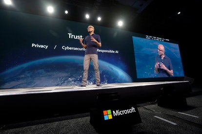 Microsoft CEO Satya Nadella delivers the keynote address at Build, the company's annual conference f...
