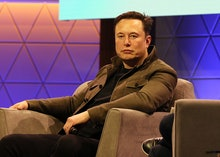 Elon Musk talks during the ' Elon Musk in Conversation with Todd Howard' Showcase panel during E3 20...