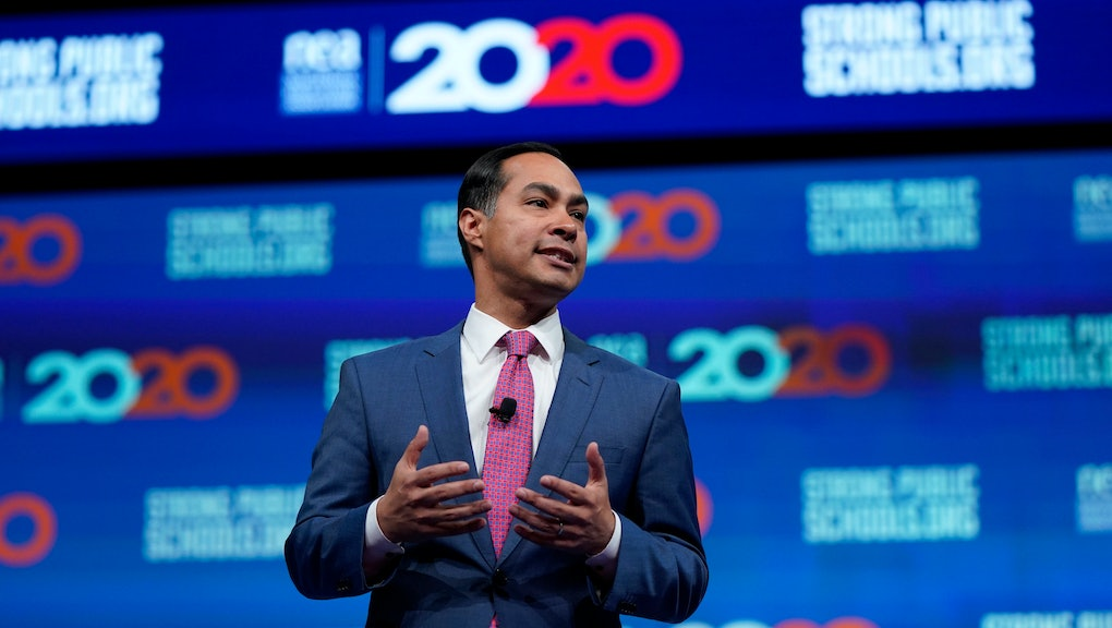 Democratic presidential candidate and former Housing Sec. Julian Castro speaks during the National Education Association Strong Public Schools Presidential Forum, in Houston