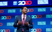 Democratic presidential candidate and former Housing Sec. Julian Castro speaks during the National E...