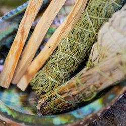Smudge kit - Palo Santo sticks, Wildcrafted dried white sage (Salvia apiana), Mugwort (Artemisia vulgaris), and Siskiyou Cedar (Chamaecyparis lawsoniana) wrapped in organic hemp twine, Abalone shell.  Is burning sage cultural appropriation?