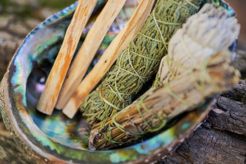 Smudge kit - Palo Santo sticks, Wildcrafted dried white sage (Salvia apiana), Mugwort (Artemisia vulgaris), and Siskiyou Cedar (Chamaecyparis lawsoniana) wrapped in organic hemp twine, Abalone shell.  Is burning sage cultural appropriation?