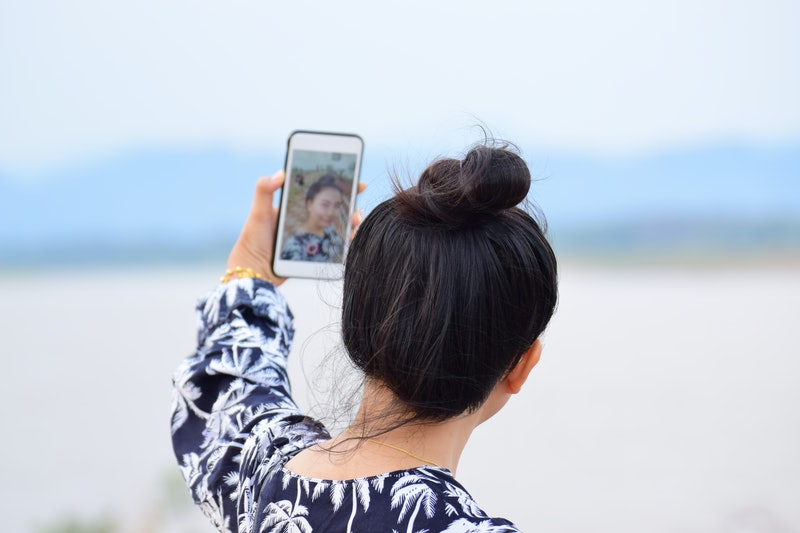 Woman Selfie camera capture