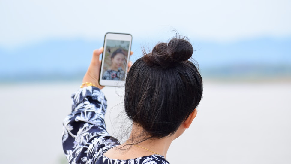 Woman Selfie camera capture