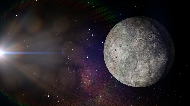 the planet Mercury, smallest planet of the solar system (3d illustration, elements of this image are furnished by NASA)