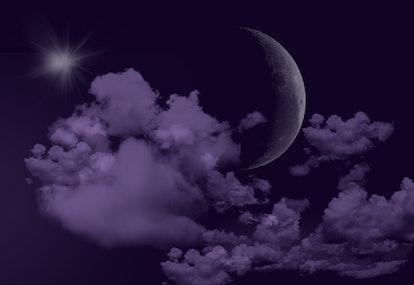 Moon in the purple sky