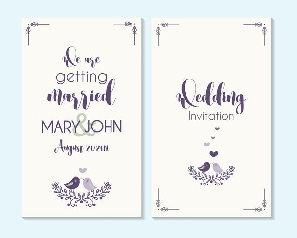 Wedding invitation, thank you card, save the date cards. Wedding invitation, baby shower, menu, flyer, banner template with birds, hand drawn calligraphy,  background. Summer wedding invitation.
