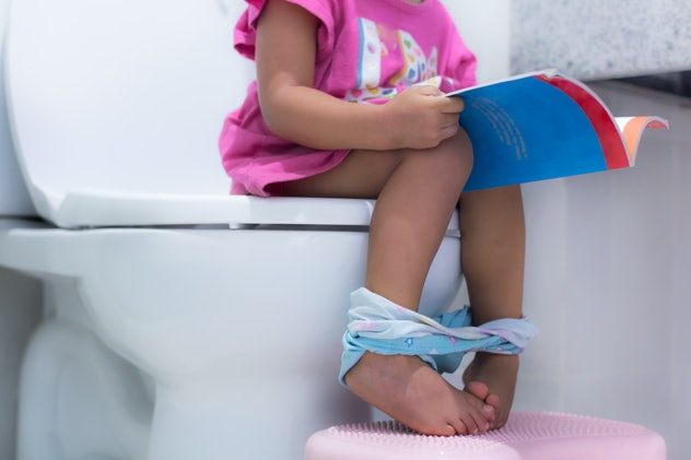 Toddler sitting on the toilet, potty training.